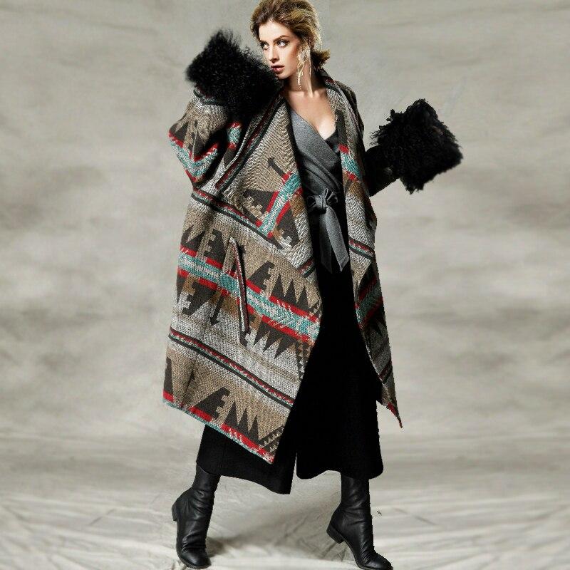 C4002 осень и зима 2018 пальто в этническом стиле с принтом тибетского овечьего меха с длинным рукавом свободное Женское шерстяное пальто оверс...