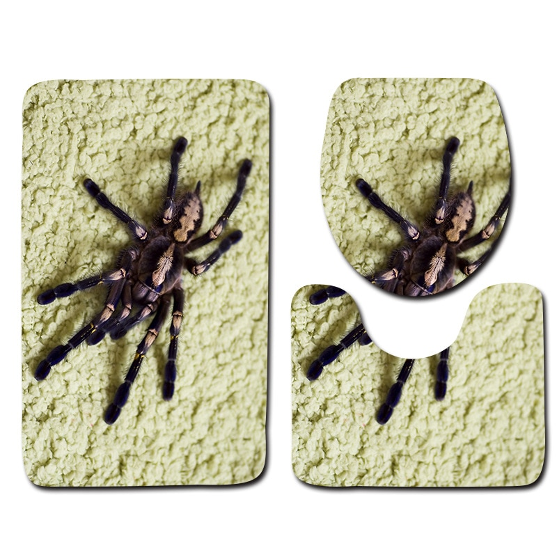 Spider Pattern Bathroom Absorbent Floor Mats Toilet Lids and Foot Mats Toilet Mat Non-slip Bath Carpet 3 Piece Bathroom Mat Sets