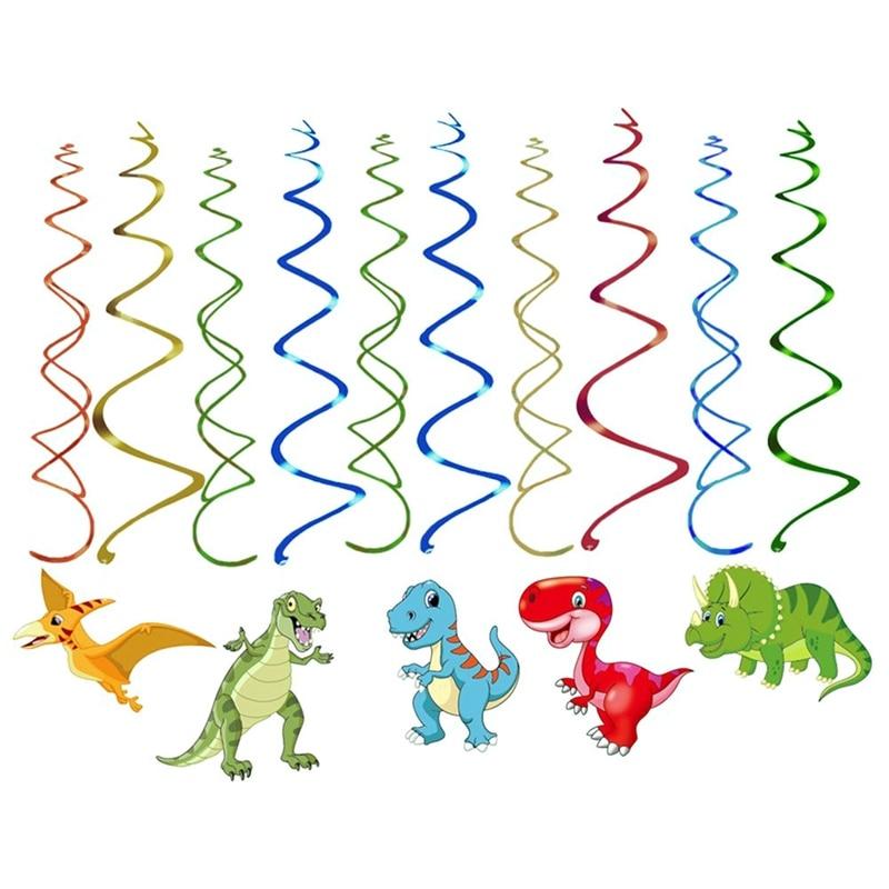 30 Uds dinosaurio banderines Dino pancarta de aluminio espiral para Dionsaur suministros de fiesta de cumpleaños adornos colgantes giratorios para niños