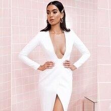 2019 Elegant New Arrival White Deep V Neck Long Sleeve Elegnat Sexy Women Dress Split Solid Autumn Celebrity Clubwear Vestidos