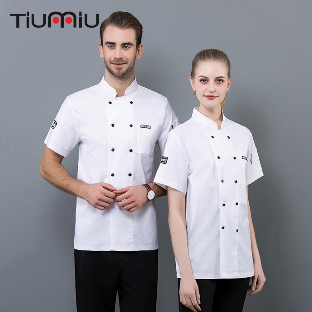 Unisex Chef Jacket Coat Kitchen Shirt Summer Breathable Overalls Restaurant Cafe Cook Chef Uniform Short Sleeve Work Clothes