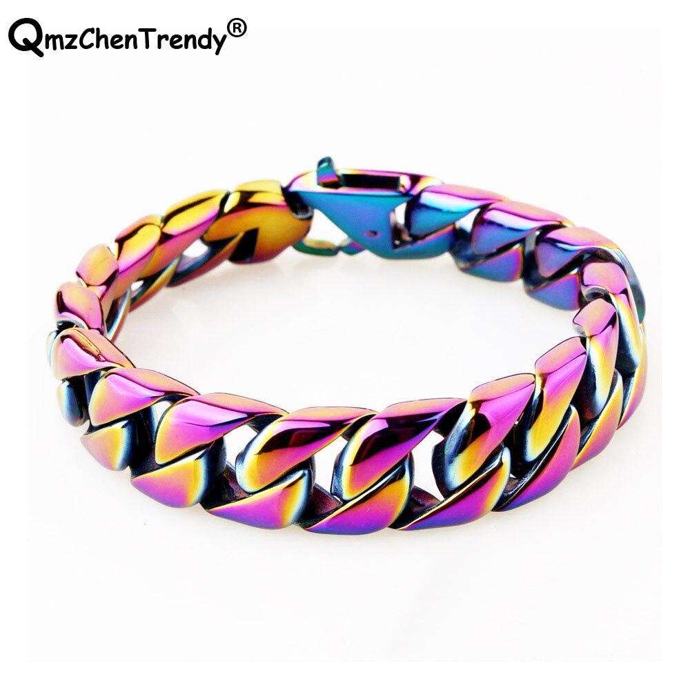 Aço inoxidável hip hop na moda jóias homens curb cubana corrente pulseiras pulseira moda feminina link correntes gradientramp cinta laço