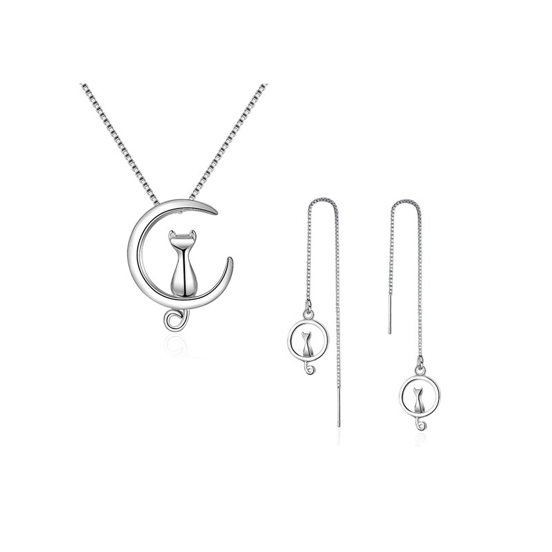 Dubai Partido Conjunto de Jóias 925 Sterling Silver Moon Gato Brincos Gargantilha Pingente de Longas Cadeias Colares para As Mulheres de Casamento