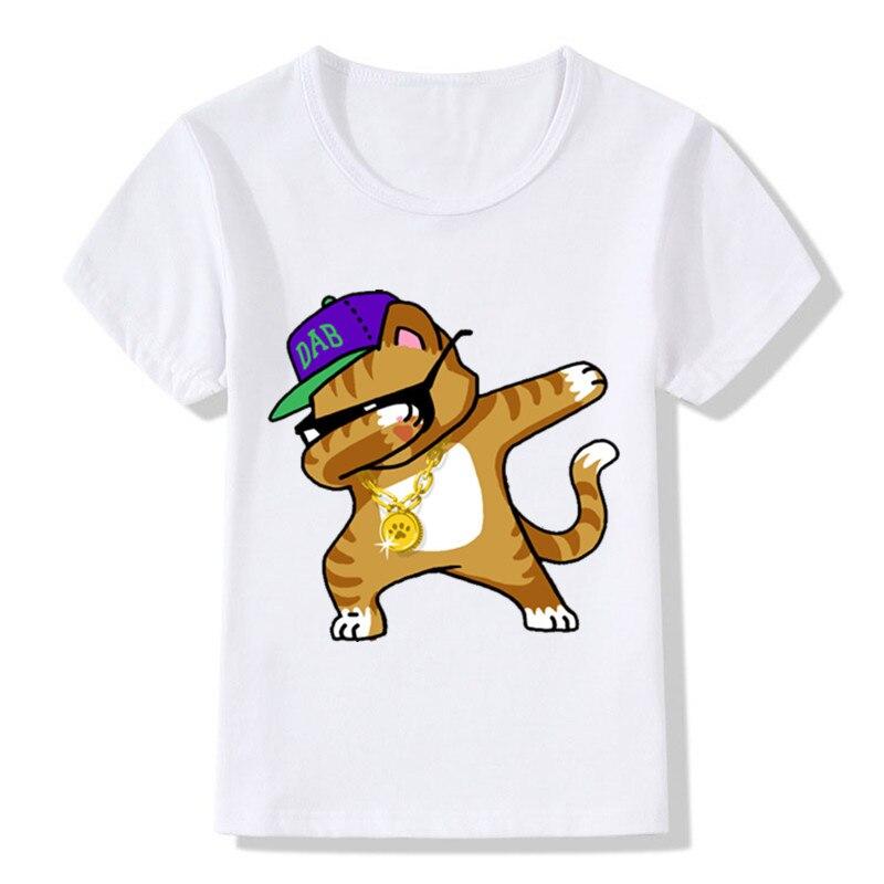 Camisa engraçada dos meninos t dos desenhos animados do unicórnio de dabbing caçoa o coelho/gato/panda/cão verão camiseta roupas das meninas do bebê, hkp2081