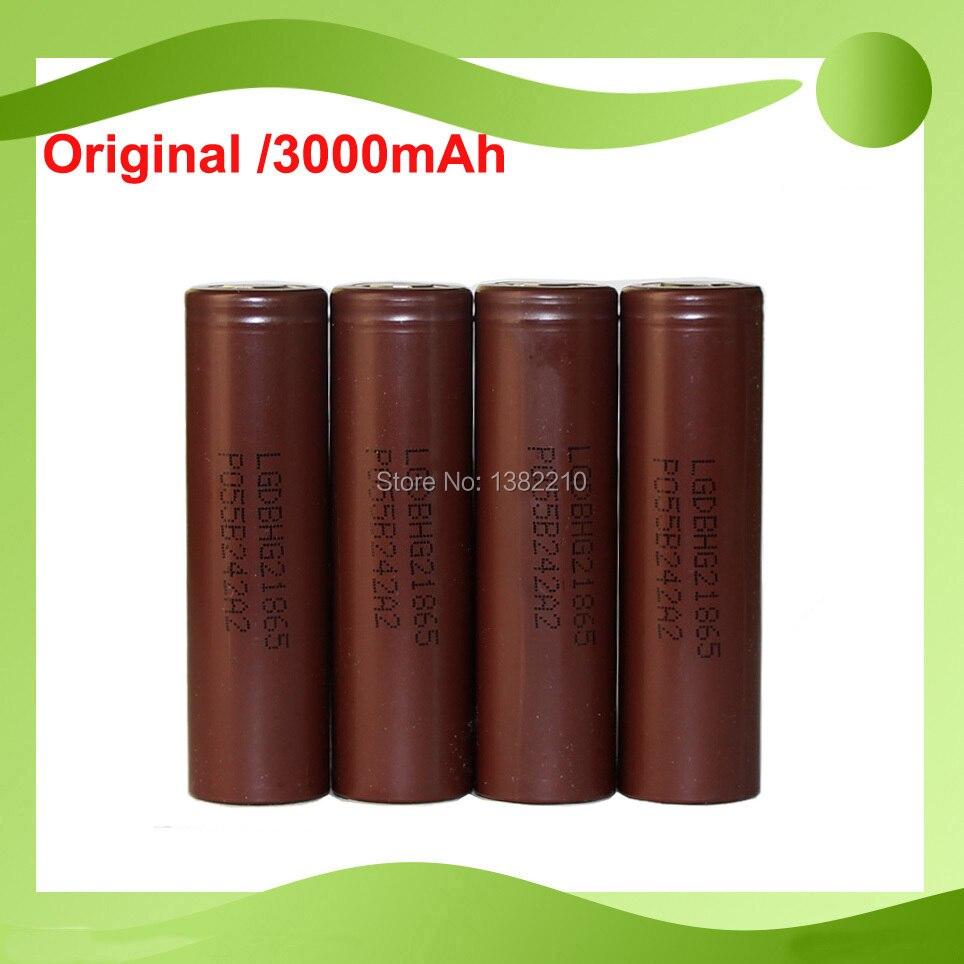 Бесплатная доставка! 4 шт./лот, оригинальный аккумулятор 18650 3,6 В 18650 hg2 3000 мАч, непрерывный разряд 20 А для LG HG2