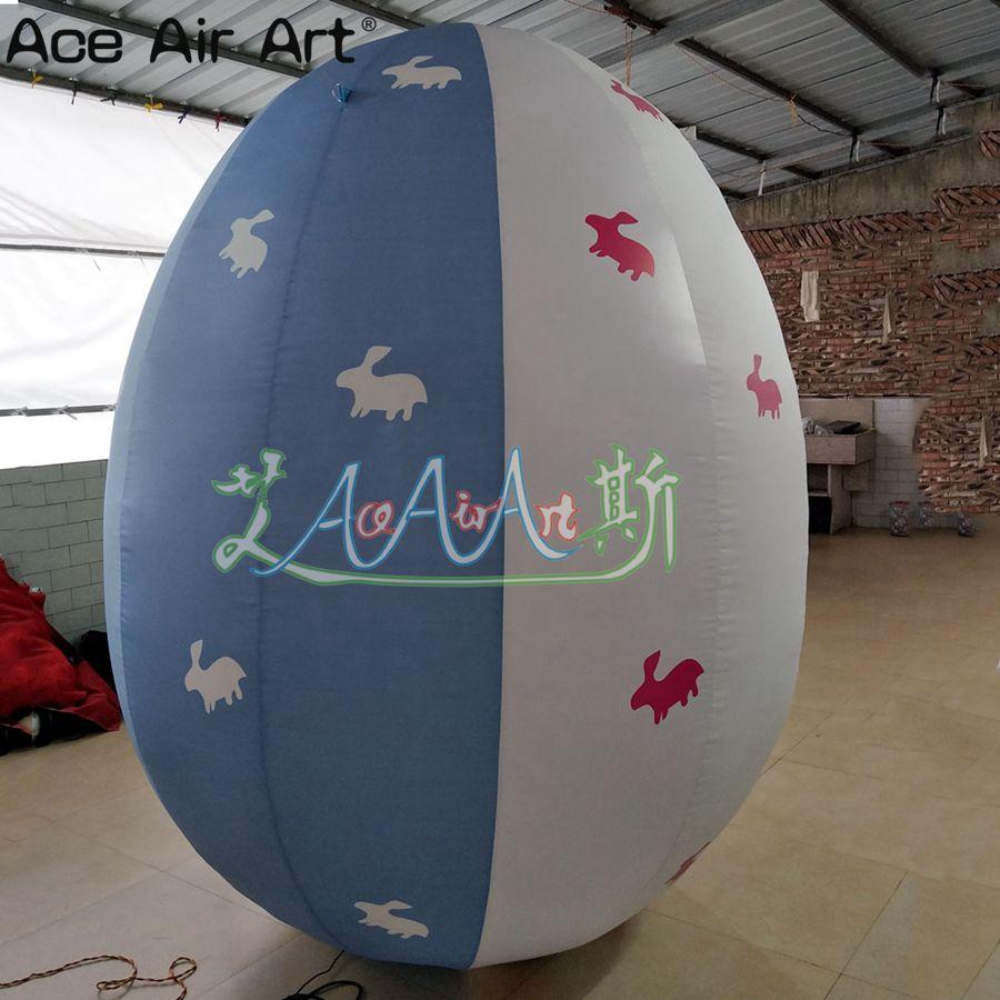 ¡Oferta! Huevo hinchable de Pascua modelo, huevo de Pascua inflable de color azul y blanco para decoración para eventos de Pascua