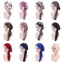 Muslim Solid Color Long-tailed hat Stretch Turban Ruffle Hair Hats Beanie Bandanas Scarf Head Wrap Headwear for Women 04