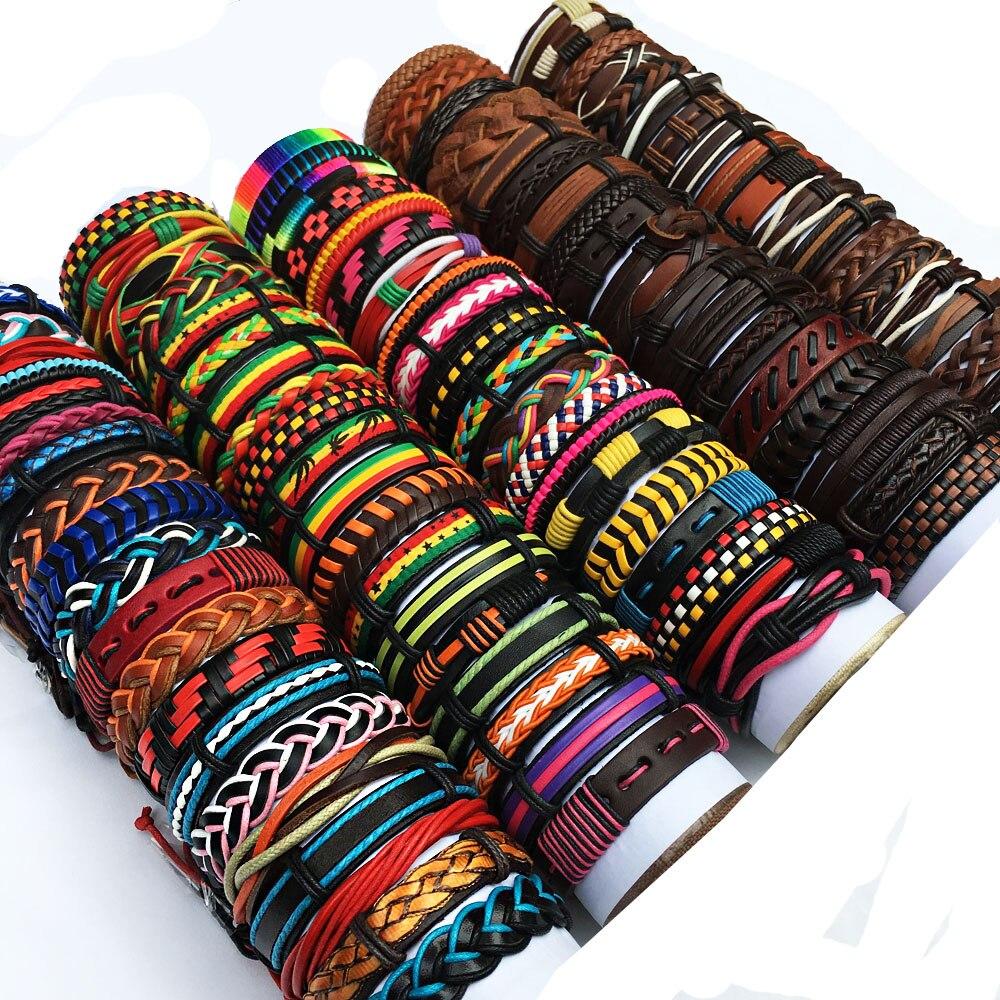 Оптовая продажа, много случайных 30 шт разных стилей, разноцветные кожаные браслеты-манжеты, браслеты, мужские и женские ювелирные изделия, п...