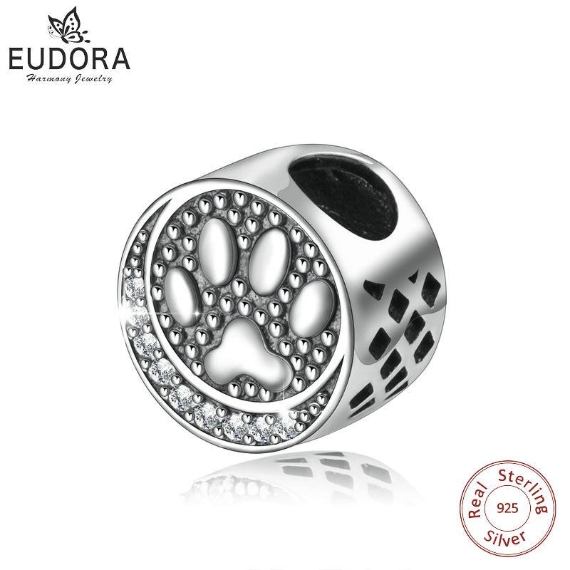 Уникальный браслет EUDORA из стерлингового серебра 925 пробы с изображением собаки, смешанные белые фотоколье и бусины, подходят для женских бр...