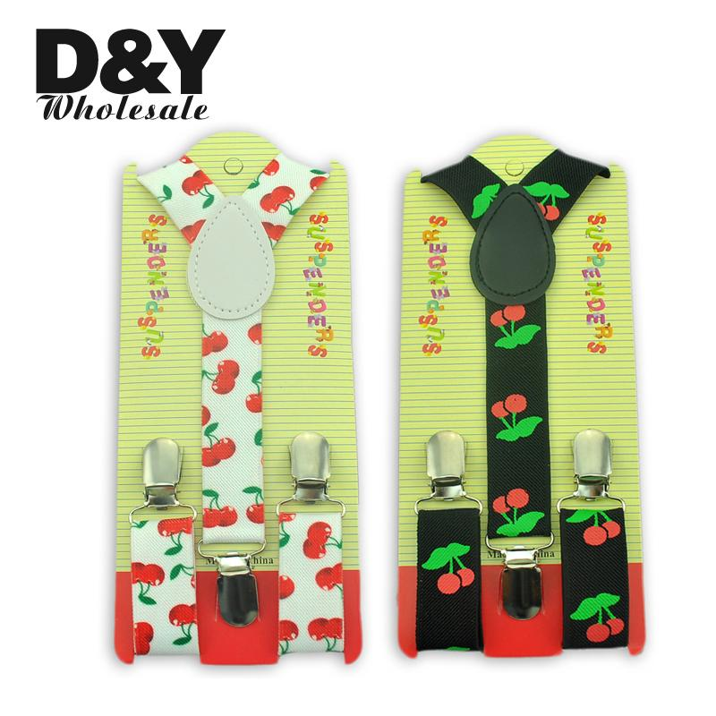"Boys/Girls Shirt Suspenders For Trousers  ""Cherry"" Pattern Kids Suspender 2 Colors Mix  Elastic  Slim Y-Back  Suspender Braces"