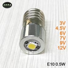 E10 0.5 w 3 v 3.7 v (3.4-4.2 v) 4.5 v 6 v 7.5 v 9 v 12 v lampe de poche LED ampoules torche avec puce Epistar ampoule lampe de poche LED lampe frontale