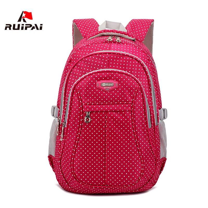 Ruipai mochila escolar ortopédica feminina, mochila ortopédica de nylon com estampa de bolinhas, para adolescentes, meninos e crianças