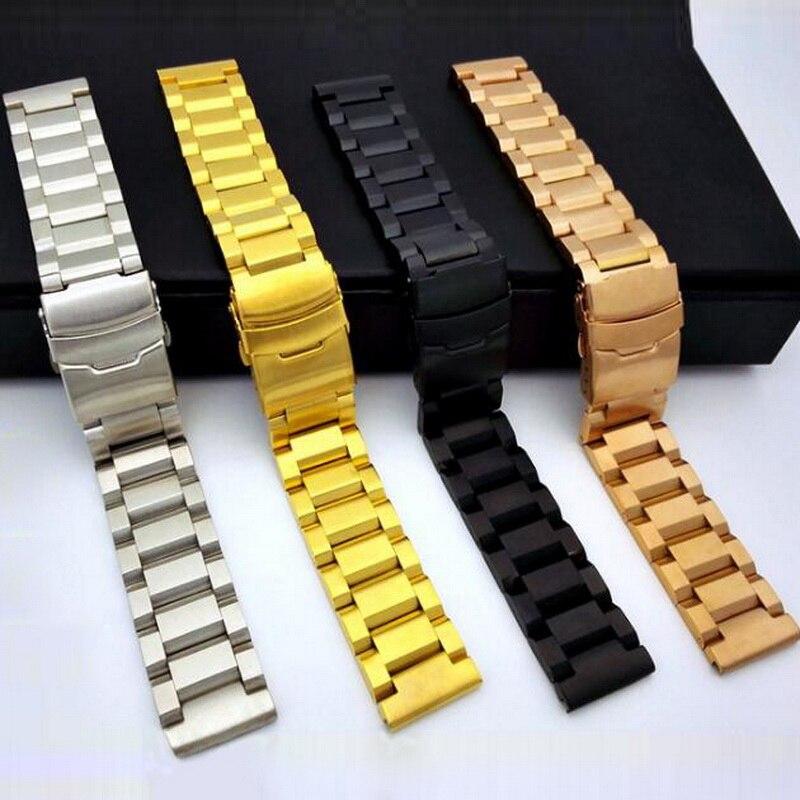 Купить с кэшбэком 18mm 22mm 24mm Stainless Steel Watch band Strap Bracelet Watchband Wristband Folding Clasp With Safety Black Silver Gold