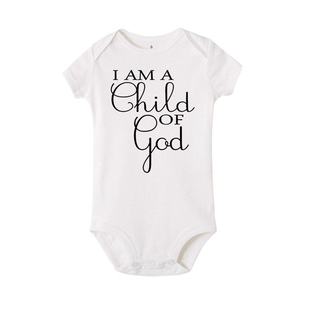 I am a child of god letra impresa recién nacido bebé niña niño manga corta Romper algodón mono Playsuit trajes ropa