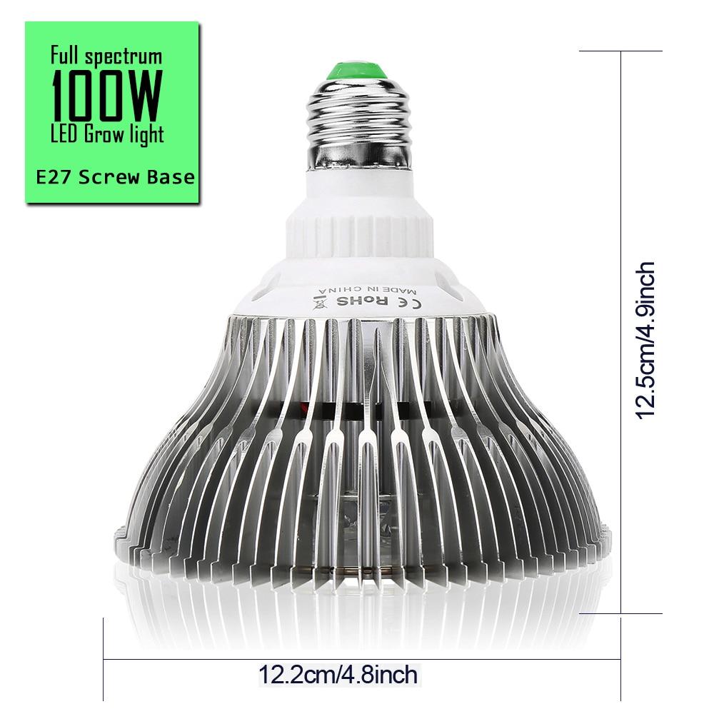 100PCS 150LEDs 100W Full Spectrum LED Grow Light For Indoor Plants Vegetable Greenhouse Hydroponic E27 Base grow light enlarge