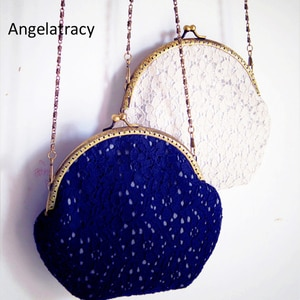 Angelatracy 2018 Handmade Vintage Lace Bags Hollow Out Floral Metal Frame Flower Kisslock Blue White Women Messenger Bags New