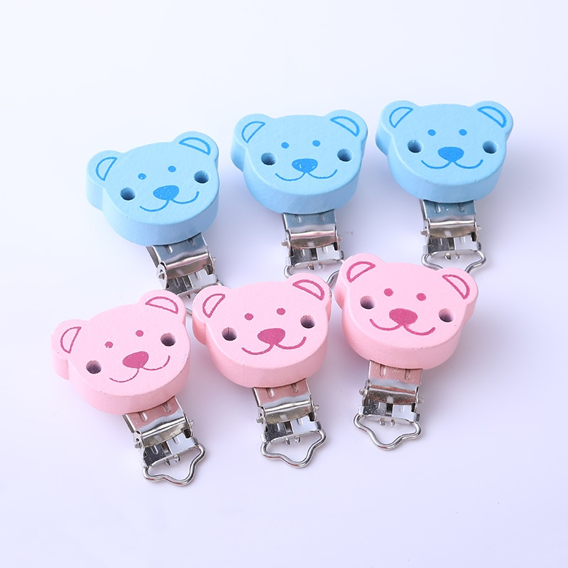 AliExpress - 2PCs Pink Blue Baby Pacifier Clips Round coffee Bear Pattern Wood Metal Holders Cute jewelry Accessories  Clothing Clip