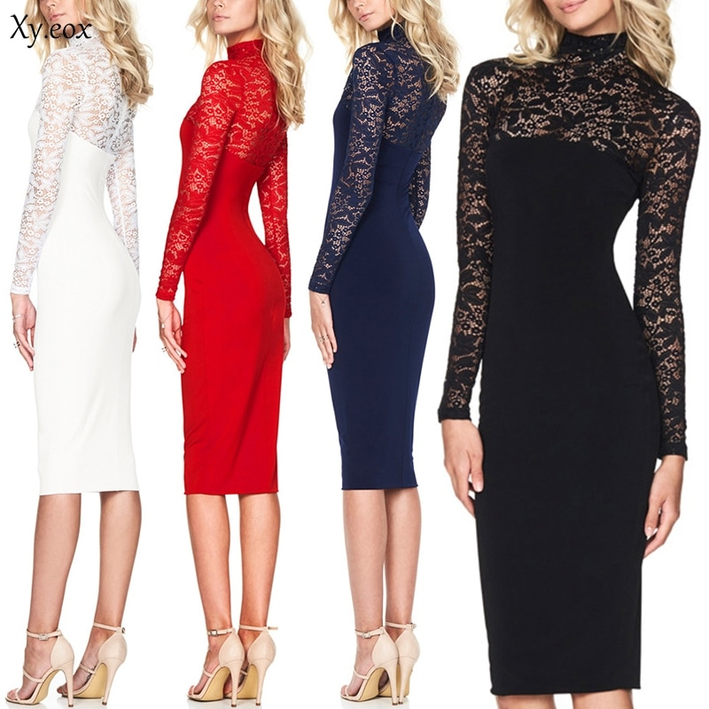 Elegant Women Bodycon Lace Dress Lady Long Sleeve Evening Party Bridesmaid Dress