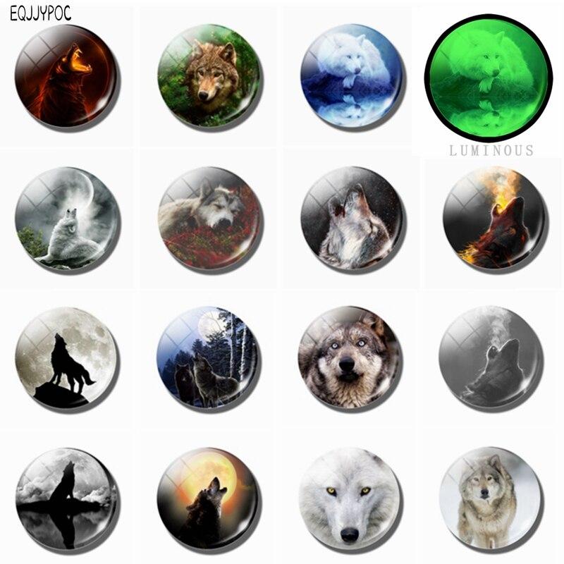 Imanes de nevera Lobo genial, cúpula de cristal luminosa, pegatina magnética, súper descuento, 15 unids/set Wolfish imán de nevera 25 MM 30 MM
