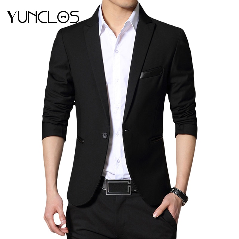 YUNCLOS  New One Button Blazer for Men Casual Slim Fit Jackets Solid Color Business Wedding Party