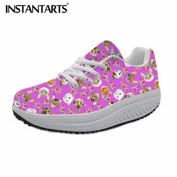 INSTANTARTS Fashion Design Women Flat Platform Shoes Female Tenis Cute Animal Cat Floral Print Ladies Casual Swing Shoe Sneakers