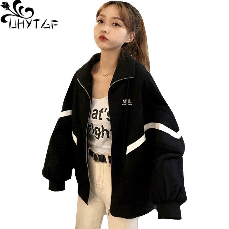 UHYTGF Nova primavera estudante casaco mulheres jaqueta de Grandes Dimensões solto manga Morcego mulher casacos e jaquetas Com Zíper mulheres casuais outerwear 427