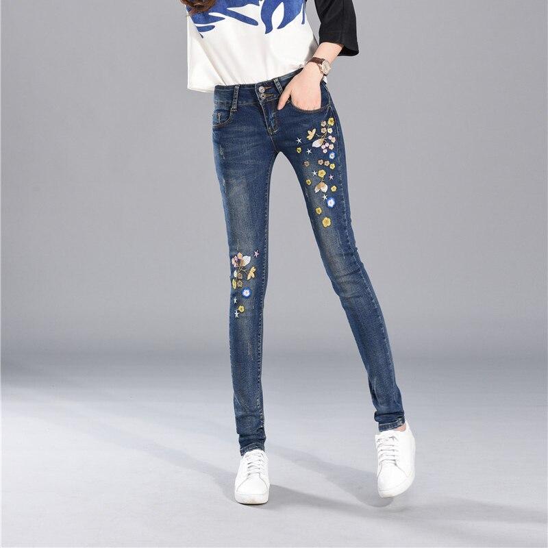 Vaqueros bordados para mujer primavera cintura alta elasticidad Jeans estilo étnico bordado pie Sexy Pantalones Mujer Vaqueros de estudiante mujer