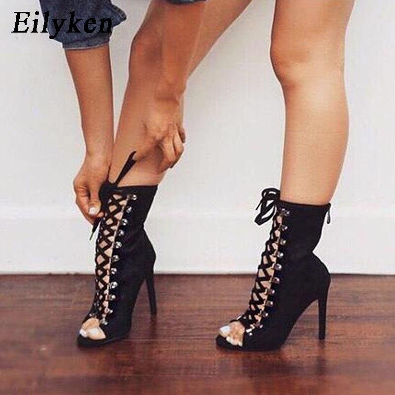 Eilyken مثير سلاسل حبل الصنادل Strappy عالية الكعب صنادل طراز جلاديتور النساء حذاء كاحل برباط النساء أحذية فستان أحذية 12 سنتيمتر