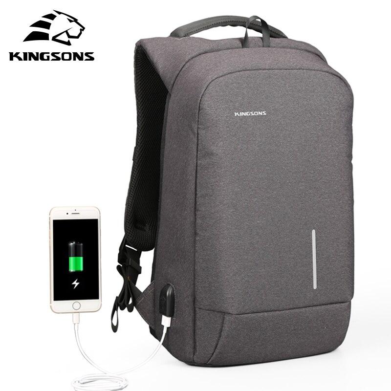 Kingsons anti-roubo notebook mochila 13.3 15.6 polegada computador portátil saco 13 15 usb de carregamento dos homens viagem mochila 180 graus aberto
