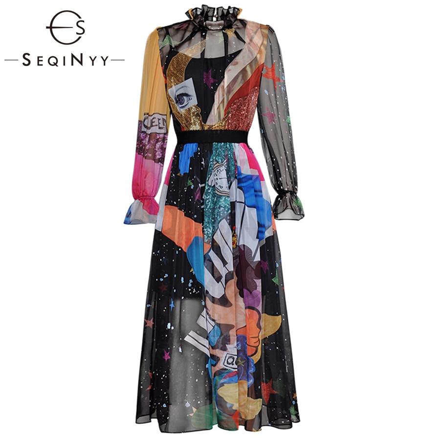 SEQINYY Chiffon Dress 2019 Early Spring Summer New Fashion Long Lantern Sleeve Elastic Waist Angel Colorful Printed