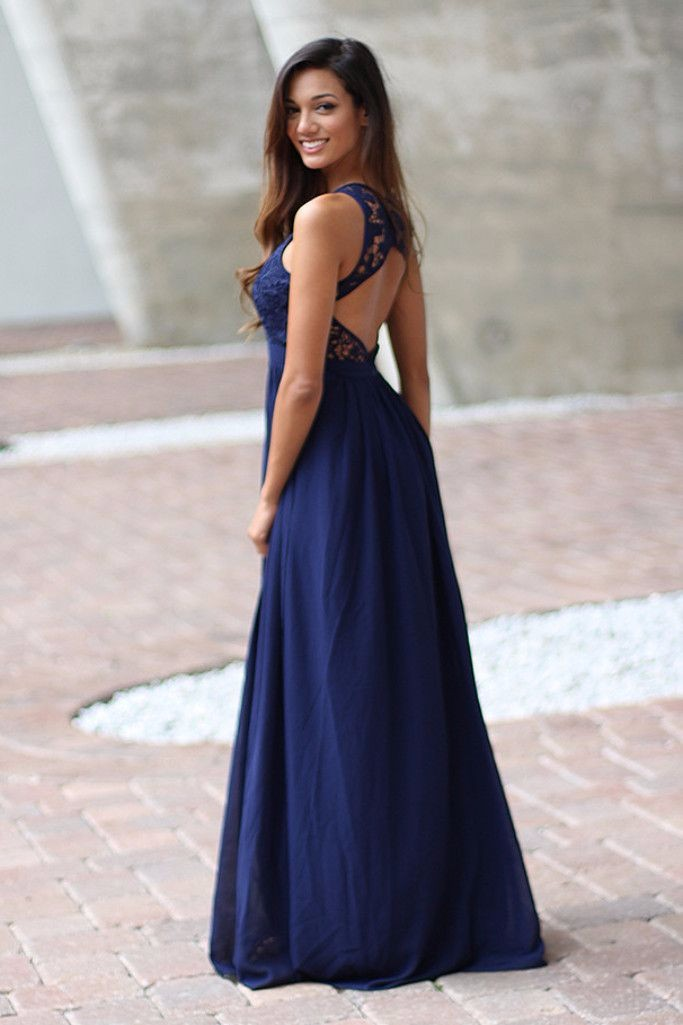 Elegant Navy Blue Crochet Maxi Bridesmaid Dress With Open Back 1