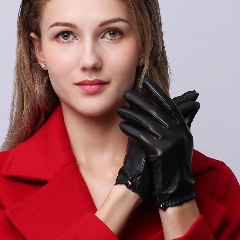 Womans Gloves Autumn Winter Short Real Leather Female Wrist Elastic Fashion Black Sheepskin Driving NW95-1