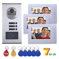 video intercom systems 3 apartments 7 inch video door phone system rfid ir cut hd 1000tvl doorbell camera
