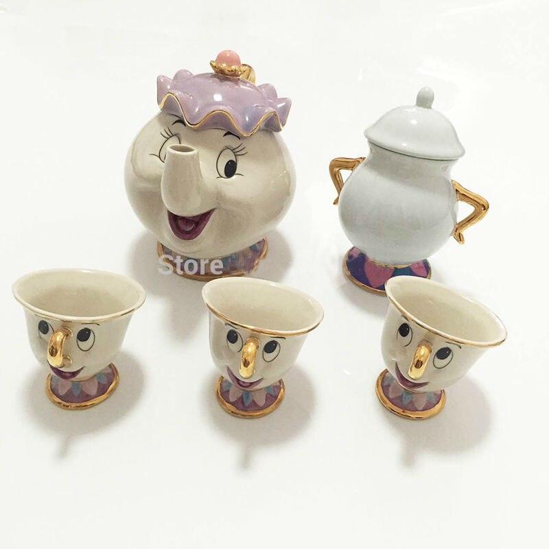 Tetera de dibujos animados La Bella y La Bestia taza de la taza de té de la señora Potts Chip juego de tazas de porcelana Cogsworth regalo 18K esmalte pintado en oro