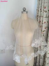 Élégant accessoires de mariage blanc ivoire Tulle 1.2 mètres court voile de mariage dentelle Appliques voiles de mariée