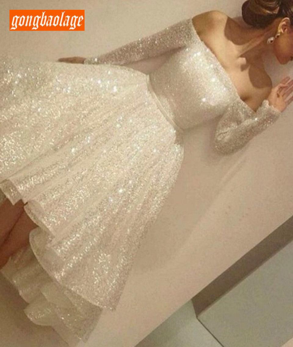 Encantador marfim vestidos de casamento curto manga longa 2020 vestidos de casamento sexy barco pescoço lantejoulas zíper na altura do joelho vestido de noiva festa