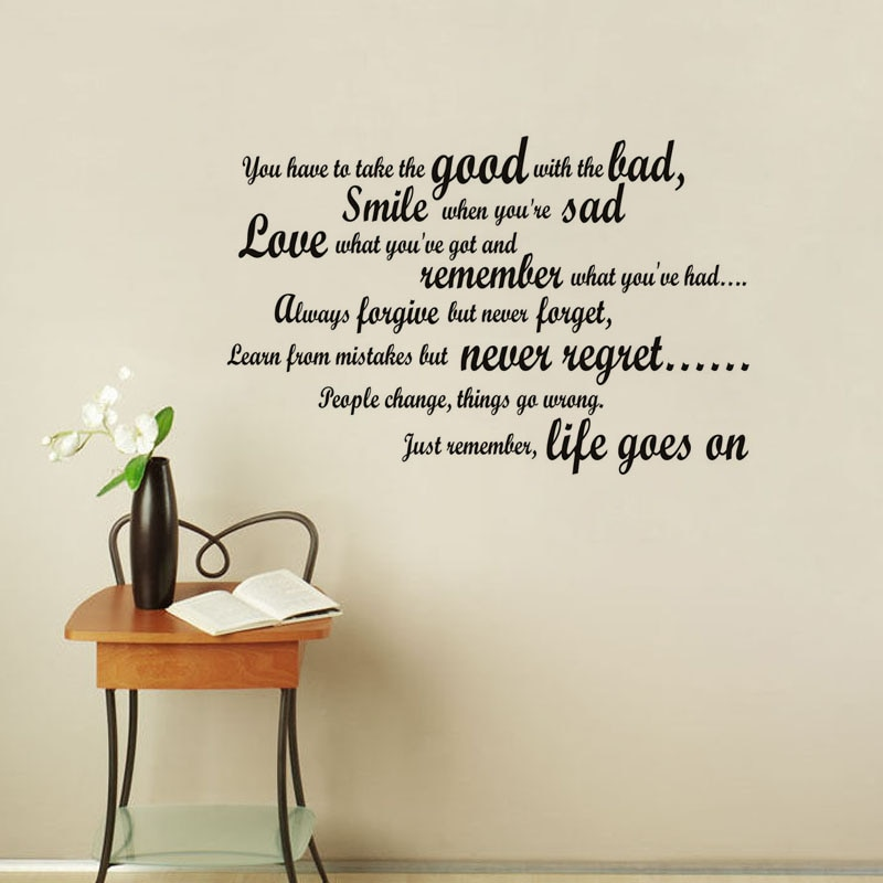 Smile When You Are Sad Wall Decal Art Vinyl Removable English Text Quote Stickers For Living Room