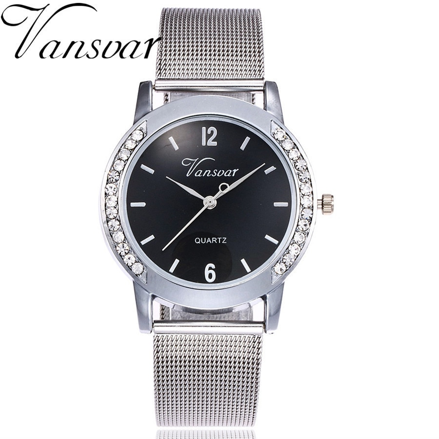 Vansvar Brand Fashion Gold Silver Mesh Band Quartz Watch Casual Women Stainless Steel Watches Relogio Feminino Gift Clock