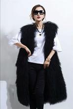 MLHXFUR largo completo negro mongol woo sheep Chaleco con piel de cordero Gilet abrigo prendas de vestir abrigos de piel largos mujeres 2019 Tibet Sheep