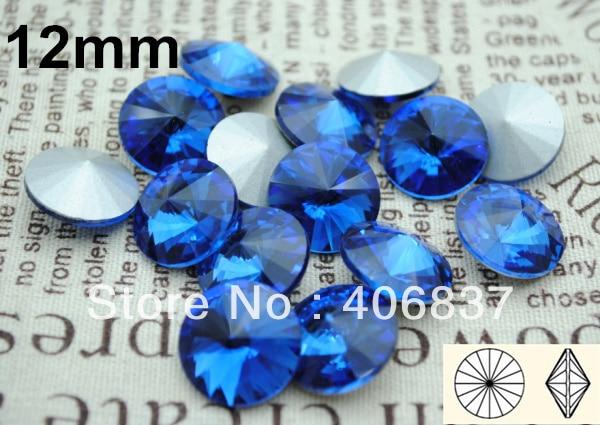 200pcs/Lot, 12mm Sapphire Crystal Rivoli Stones, Free Shipping! Chinese Top Quality Crystal Rivoli