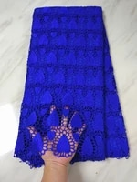 5 yardspc hot sale royal blue african water soluble guipure lace embroidery french cord lace fabric for clothes bw152 1