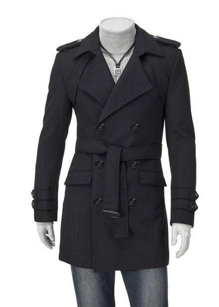Moda 2020 abrigo de otoño-invierno para hombre, abrigo de mezcla de lana con cuello hacia abajo para hombre, abrigo de invierno con doble botonadura para hombre negro