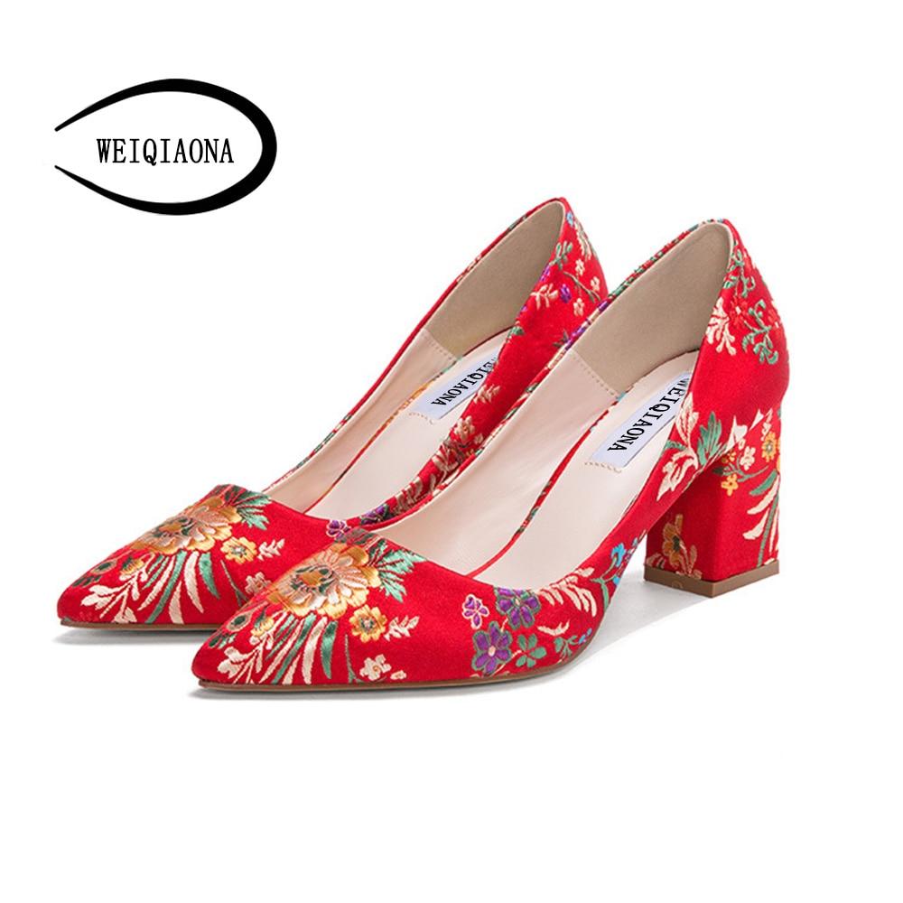 WEIQIAONA 2018 Fashion Brand Design Women Shoes Elegant Embroidery Ladies Shoes 5cm 7cm High Heel Dress Shoes Wedding Shoes