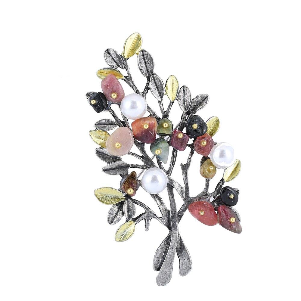 Vintage-Schmuck Naturstein Brosche Anhänger Retro Baum Form Imitation Perle Pins Broschen Schmuck für Frauen Zubehör 1631