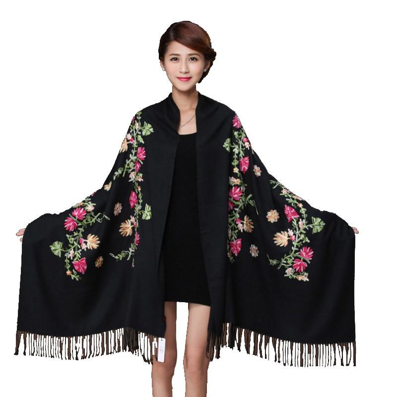 Écharpe en cachemire noir brodé fleur Pashmina   Écharpe pour femmes, hiver chaud et fin glands écharpe châle châle