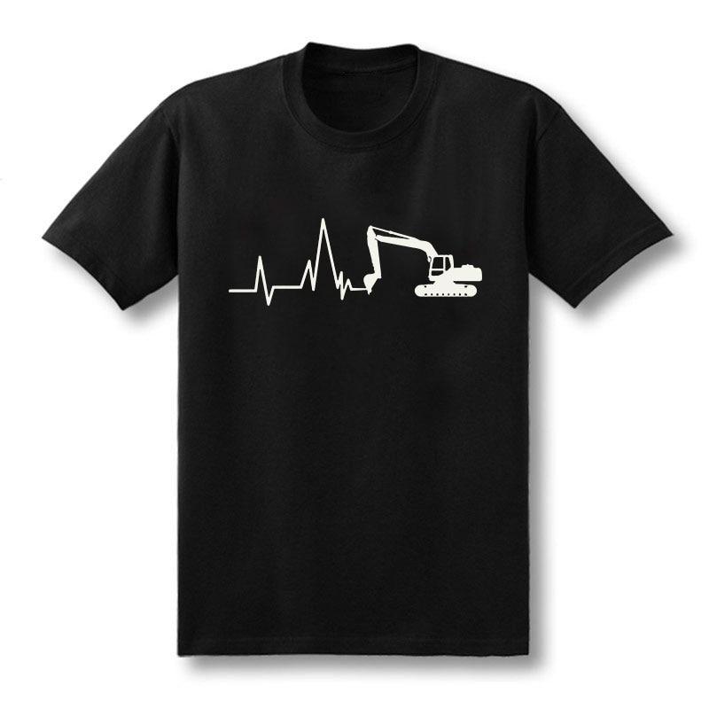 New Summer Excavator T Shirts Men Short Sleeve Cotton Heartbeat of Excavator T-shirt Man Clothing Camisetas T-Shirts