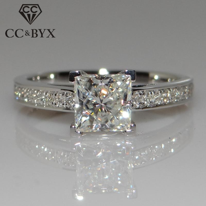CC Ювелирные изделия Модные кольца из стерлингового серебра 925 пробы для женщин ювелирные изделия простой дизайн квадратная Свадебная фотос...