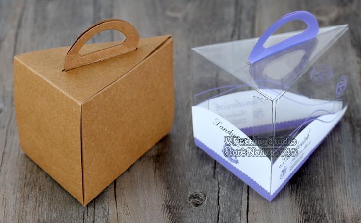 Braun und PVC Dreieckige Kuchen box Mousse Käse Geschnitten Portablet box Cookies, cranberry kekse, gebacken verpackung 100 stücke/los