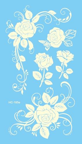 HC1185e, pegatinas de tatuaje Sexy falso prediseñado para mujeres, flores blancas, diseño de Rosa temporarios de transferencia de agua, tatuaje, etiqueta, tatuaje pequeño