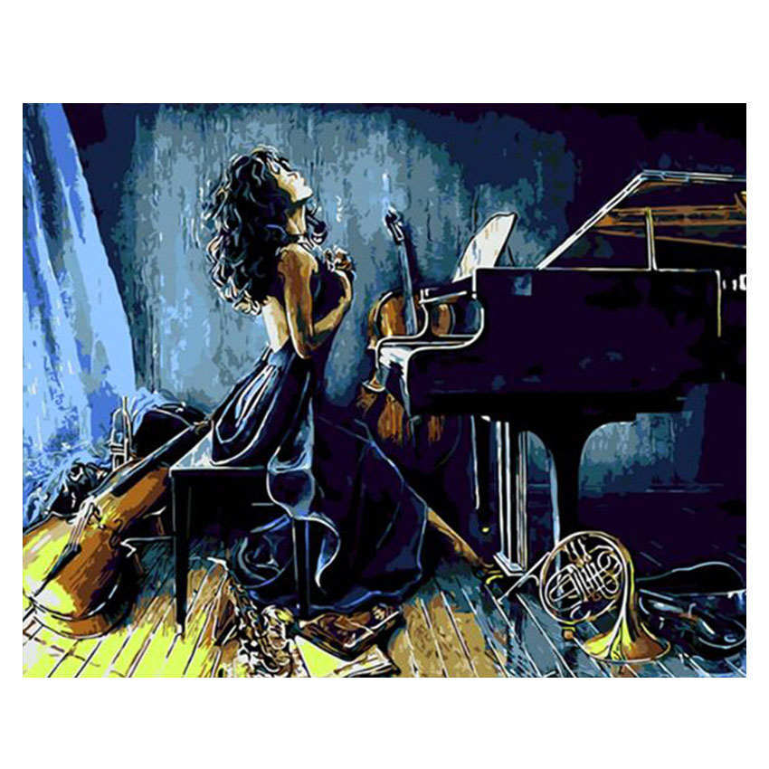 Colorear por números, pintar por número, imagen, mujer con Piano, pintar caligrafía